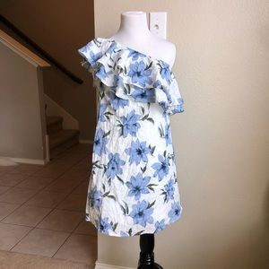 KLd one shoulder ruffle floral dress